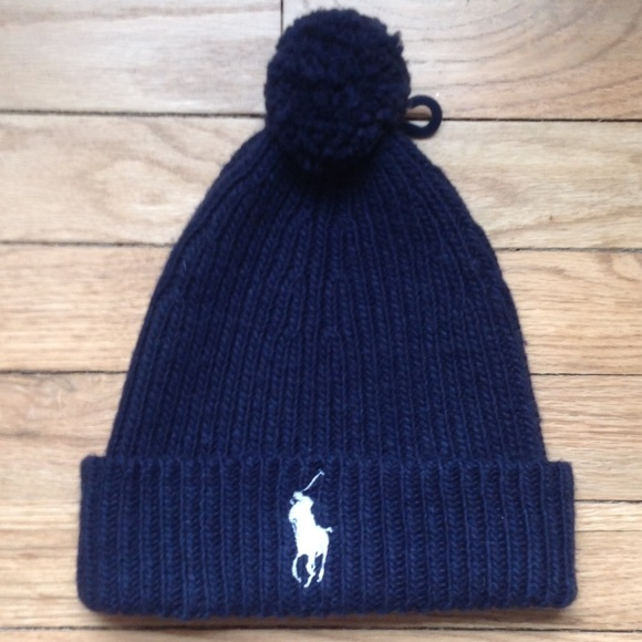 37c626c588b0e Polo Ralph Lauren Big Pony Pom Pom Navy Beanie Hat